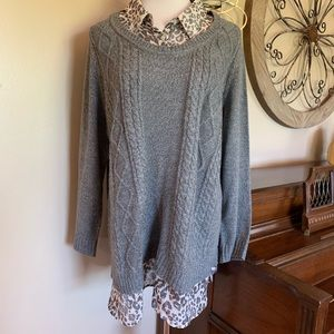 Faded Glory Size 3X Gray Faux Layered Sweater